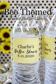 "Our personalized yellow bumble bee themed water bottle labels designed to match your bee themed party decorations and supplies. Honeycomb design is perfect for a Happy ""Bee-day"" party or even a ""Mommy to Bee"" baby shower! #BeeBabyShower #bumblebee Decorated Water Bottles, Happy 17th Birthday, Mommy To Bee, Water Bottle Labels, Bee Theme, Label Design, Honeycomb, Party Themes, Baby Shower"