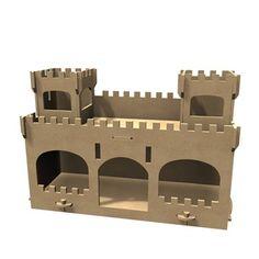 Forme en médium - Château fort L. 52 x 21 x H. 34 cm