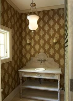 sink base and sink idea for powder room like idea of wallpaper Custom Home Designs, Custom Homes, Just Cabinets, Wall Mount Faucet, Beautiful Interior Design, Bathroom Renovations, Bathroom Ideas, Bathroom Inspiration, Of Wallpaper