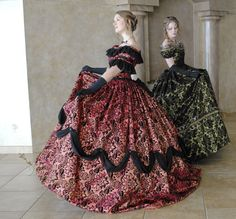 CUSTOM Victorian Bridal Civil War Steampunk Ball Gown Dress in Chiffon & flocked taffeta