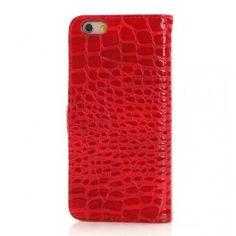 iPhone 6 punainen krokotiilinnahka puhelinlompakko