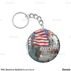 #Patriotic USA American Symbols Basic Round Button Keychain by #gravityx9  #Zazzle -