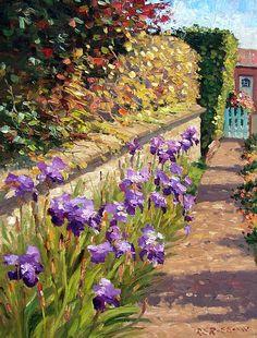 Mini Paintings, Landscape Paintings, Farmhouse Paintings, Impressionism Art, Sky Art, Water Lilies, Beautiful Paintings, Garden Art, Flower Art