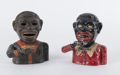 Two JOLLY NIGGER Mechanical Banks, painted cast iron, 16cm high / MAD on Collections - Browse and find over 10,000 categories of collectables from around the world - antiques, stamps, coins, memorabilia, art, bottles, jewellery, furniture, medals, toys and more at madoncollections.com. Free to view - Free to Register - Visit today. #MoneyBanks #MADonCollections #MADonC