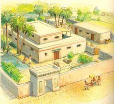 """""""Casa de campo"""" dos nobres do Antigo Egito."""