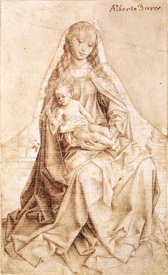 Virgin with the Blessing Child. Weyden. 1450-1455. Graphic. Metalpoint on white paper mounted on pink-coloured sheet. 216 x 133 mm. Museum Boijmans Van Beuningen. Rotterdam.