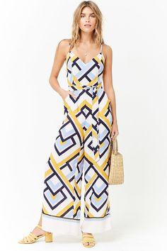 Product Name:Abstract Chevron Print Cami Jumpsuit, Category:dress, Price:27.9