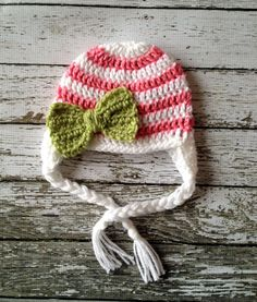 Stripe Big Bow Beanie in White Pink and by mamamegsyarnshoppe, $18.00