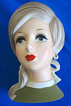 lady head vases | Vintage Lady Head Vase (Head Vase:) at Cookie's Collectibles