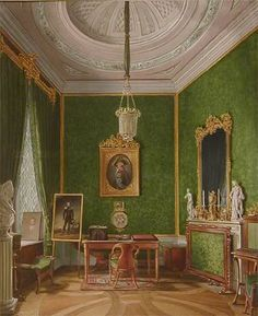 Gatchina - Maria Feodorovna's cabinet.  Several Russian rulers, from Catherine the Great to Alexander III, put their decorative stamp on this palace.