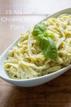 This quick & easy 15 minute Creamy Pesto Pasta makes a great weeknight meal. Comfort food at it's best! (Plus a recipe video!)