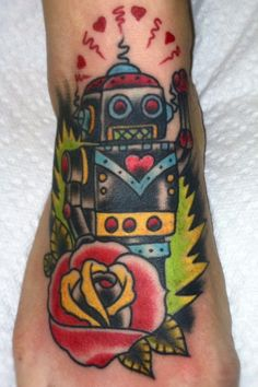 robot in rose with leaf background Car Tattoos, Cartoon Tattoos, Body Art Tattoos, Tattoos For Guys, Sleeve Tattoos, Tattoos For Women, Robotic Arm Tattoo, Robot Tattoo, Biomechanical Tattoo