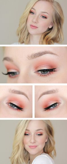 Fun, colorful, but still TOTALLY wearable look! You can substitute warm browns for the corals to transition this look perfectly for fall! #coral (summer / fall) eye makeup @haveyallherd