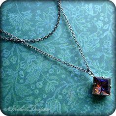 Starstruck: bermuda blue heliotrope double strand gunmetal necklace