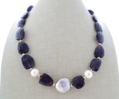 Amethyst necklace and earrings chunky necklace purple stone