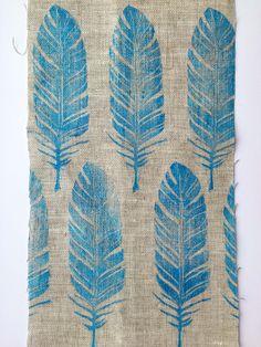 my block prints  (@mafmafii)- feather, linocut, blockprinted on fabric, feather pattern