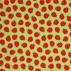 green ladybird and dots fabric by Robert Kaufman