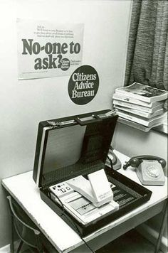 "The ""portable CAB"" from the used for outreaches - ran on microfiche and tricky to read apparently Mechanical Calculator, Crt Tv, Image Chart, Tape Recorder, Citizen, 1970s, Communication, Advice, Technology"