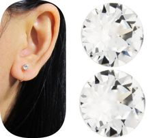 Tiny 4mm Swarovski Rhinestone Clip On Stud Earrings Cs28 Crystal Clear Ons Comfortable Wedding Non Pierced