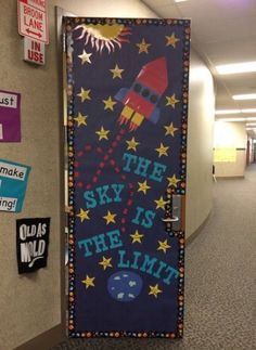 The sky is the limit! Decorate door and the classroom to get students engaged and excited for what they are learning. The sky is the limit! Decorate door and the classroom to get students engaged and excited for what they are learning. Space Theme Classroom, Classroom Door Displays, Classroom Board, School Displays, Classroom Design, Classroom Decor, Superhero Classroom Door, Star Themed Classroom, Space Bulletin Boards
