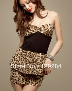 Summer Fashion women's boob tube top leopard sexy strech  mini one piece Dress girl's lady CN post $10.61