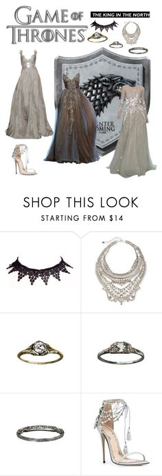 """""""Game of Thrones: House Stark"""" by doratemplam ❤ liked on Polyvore featuring Tony Ward, Elie Saab, DYLANLEX, TEN, Marchesa, Kingdom, GameOfThrones, HouseStark, got and Stark"""