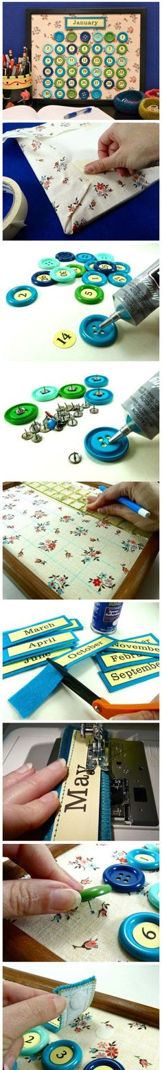 Button calendar on fabric lined frame