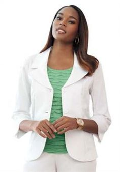 Jessica London Women's Plus Size Jessica London Basic Stretch Blazer White,20 Plus Size