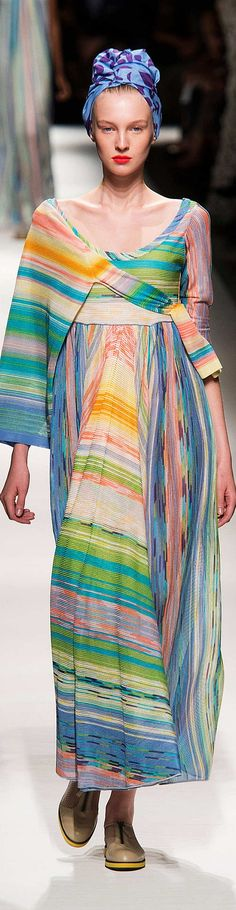 Something Angelic about this mostly Youthful print - almost ombre rainbow pattern. The Spring (Bright) colors also take it to Youthful. Missoni Collection Spring 2015