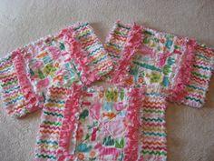 3 Zoo Animal Baby Girl Burp Cloths with Minky backing