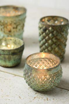 Green Patina Antoinette Tea Light Candle Holders
