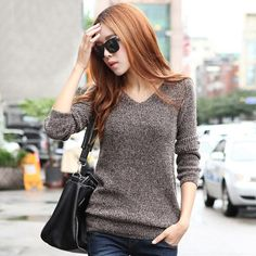 Hstyle Women's Knitted Pullovers w/ Lantern Sleeve & V-Neck