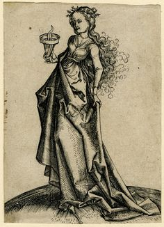 1480-1500 The second wise virgin; standing towards the left, holding a flame Engraving. Print made by: Monogrammist IE After: Martin Schongauer