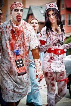 Check out our latest article Halloween Costumes Ideas for Women Unique. Know more about Halloween costumes diy teen girls friends, Halloween costumes college couples funny. Halloween Zombie, Homemade Zombie Costume, Zombie Nurse Costume, Insane Asylum Halloween, Costumes Sexy Halloween, Doctor Halloween, Couples Halloween, Doctor Costume, Diy Halloween Costumes