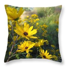 Yellow Lazy Susan Throw Pillow featuring the photograph Wake Up Lazy Susan By Marilyn Nolan- Johnson by Marilyn Nolan-Johnson