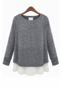 Grey Patchwork Loose Long Sleeve Cotton Blend T-Shirt
