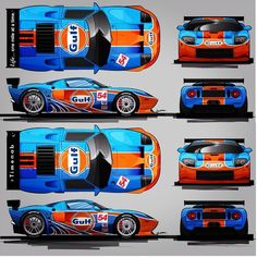 Ford GT Gulf is provocative UI design. Us Cars, Race Cars, Ford Gt Gulf, Vw Conversions, Racing Car Design, Truck Art, Ford Gt40, Car Mods, Automotive Art