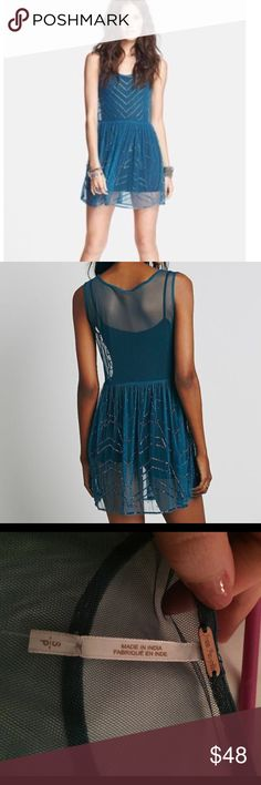 Free People Sheer Dress with Bead Embellishment NWT this beautiful Free People dress is begging to be worn out to your next outdoor concert or festival. Can be worn over any slip or dress that you choose (please note it is sheer and in the photos both models are wearing something underneath). Free People Dresses Mini