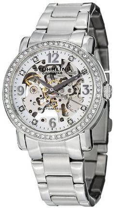 Stuhrling Original Women's 531L.11112 Classic Delphi Canterbury Automatic Skeleton Swarovski Crystal-Accented Silver Dial Watch