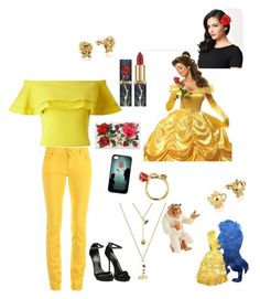 """Beauty and the beast"" by dancesing7 ❤ liked on Polyvore featuring Love Moschino, Miss Selfridge, CO, Disney, Lenox, Dolce&Gabbana and Gucci"
