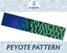 Peyote beading pattern featuring Japanese Cherry Blossom motif on turquoise background  Miyuki Delica cylindrical beads size 11 have been carefully selected using the full manufacturers sample charts (not from the software, therefore they will work nicely together - but if you need any help with colours, dont hesitate to contact me).  Width: 1.27 (24 columns) Length: 6.51 (188 rows) Colours: 7 Technique: Peyote stitch (even count)  PDF file includes:  - Pattern Overview - Bead Legend…