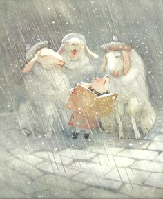 Christmas sheep in Edinburgh -- from Toot and Puddle book