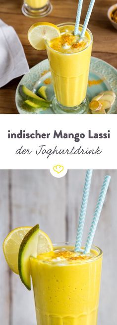 Milder Joghurt, fruchtige Mango und eine extra Prise Kurkuma in einem indischen . Mild yoghurt, fruity mango and an extra pinch of turmeric in an Indian lassi - the perfect drink with spicy curry or spicy tandoori skewers. Healthy Smoothie, Smoothie Drinks, Healthy Drinks, Smoothie Recipes, Healthy Recipes, Easy Recipes, Kefir Recipes, Smoothie Mixer, Mango Smoothies