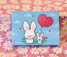 Children's art : Mom with her baby bunny holding a heart balloon mini canvas bunny art painting, acrylic x Kids Canvas Art, Small Canvas Paintings, Small Canvas Art, Easy Canvas Painting, Mini Canvas, Painting Art, Easy Art For Kids, Easter Paintings, Bunny Painting