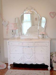 Antique Vanity with Mirror | White Antique Masterpiece Dresser with Etched Tiara Mirror