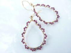 Garnet earrings 14k gold filled and garnet jewelry by Leoben