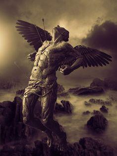 A Fallen Angel by msabas on DeviantArt Fallen Angel Art, Fallen Angel Tattoo, Archangel Tattoo, Male Angels, Arte Van Gogh, Greek Mythology Art, Angel Artwork, Statue Tattoo, Satanic Art