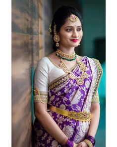 Rocking a south Indian traditional look and how! White Saree Blouse, Pattu Saree Blouse Designs, Saree Dress, Sari, Dulhan Dress, Gown Dress, Indian Bridal Sarees, Indian Bridal Outfits, Indian Bridal Fashion