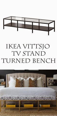 Dwellings By DeVore: Gold Upholstered Bench Tutorial. This is an IKEA hack from a Vittsjo tv stand. Love this!