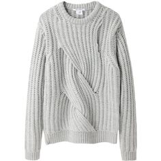 Carven Twisted Knit (4.405 ARS) ❤ liked on Polyvore featuring tops, sweaters, jumpers, clothes - tops, cable sweaters, crew-neck sweaters, crew neck sweaters, chunky knit sweater and over sized sweaters